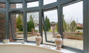 Origin grey aluminium bay windows interior view